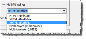 Options you get for Publish to MathPage Including HTML + MathJax, XHTML+MathJax, XHTML +MathML, MathPlayer, Multi Browser