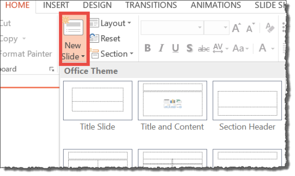 PowerPoint screenshot of selecting New Slide from the HOME tab