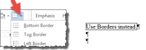 "Microsoft Word ""borders"" selected and hi-lighted."