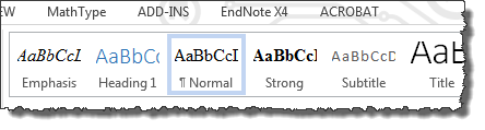 "Microsoft Word with ""Styles"" highlighted."