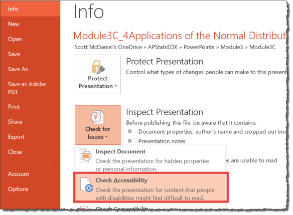 The accessibility Checker being selected from the info tab within PowerPoint
