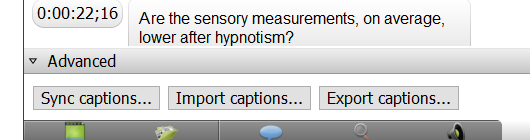 "Captions box in Camtasia with ""sync captions,"" ""Import captions"" and ""export captions"" options"